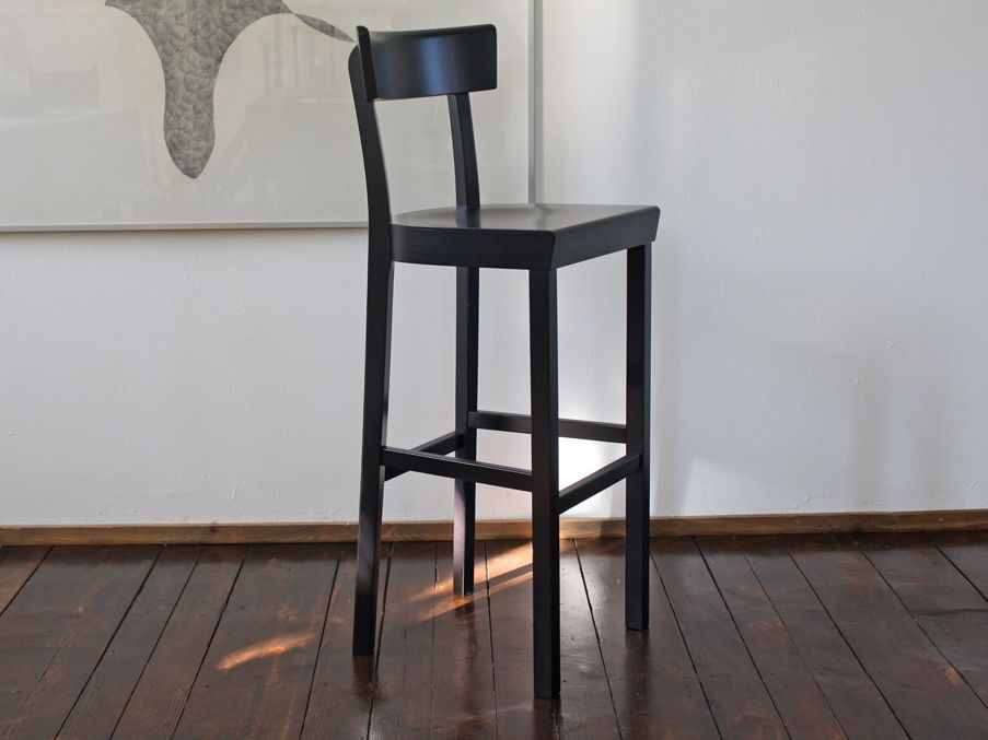 The Frankfurt bar stool, black stained, matt lacquered